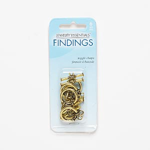clasp, toggle, antiqued gold-finished pewter (zinc-based alloy), 17mm round with scroll design. sold per pkg of 6.