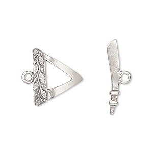 clasp, toggle, antiqued sterling silver, 16.5x16.5x15.5mm single-sided triangle with leaf design. sold individually.