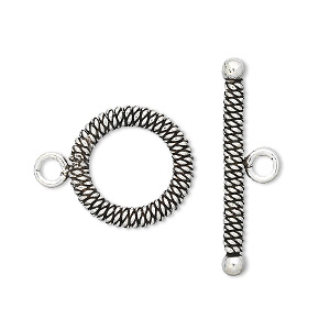 clasp, toggle, antiqued sterling silver, 16mm round with spiral weave design. sold individually.