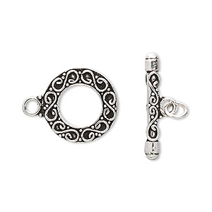 clasp, toggle, antiqued sterling silver, 17.5mm round with wire design. sold individually.