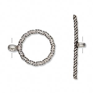 clasp, toggle, antiqued sterling silver, 19mm spiral twist round. sold individually.