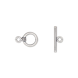 clasp, toggle, antiqued sterling silver, 8mm round. sold per pkg of 2.