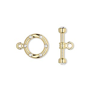 clasp, toggle, glass rhinestone and gold-plated brass, clear, 12mm round. sold per pkg of 2.