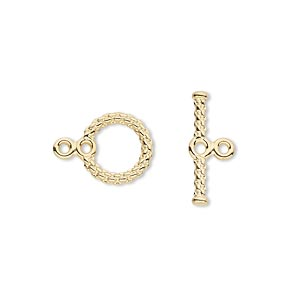 clasp, toggle, gold-plated brass, 10mm round with woven texture and loops. sold per pkg of 10.