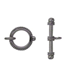 clasp, toggle, gunmetal-finished pewter (zinc-based alloy), 18mm double-sided twisted rope round. sold per pkg of 4.
