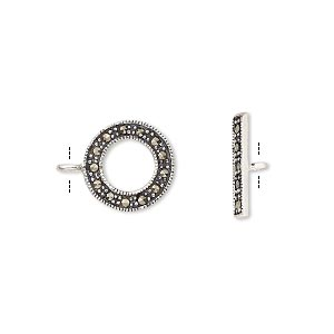 clasp, toggle, marcasite (natural) and antiqued sterling silver, 12mm single-sided round. sold individually.