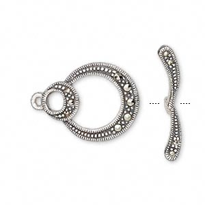 clasp, toggle, marcasite (natural) and antiqued sterling silver, 20x16mm single-sided double round. sold individually.
