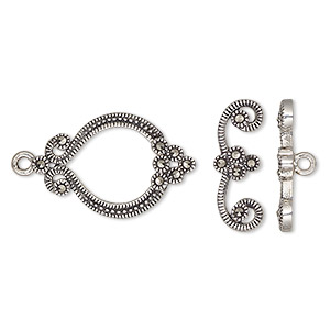 clasp, toggle, marcasite (natural) and antiqued sterling silver, 24x15mm single-sided fancy oval. sold individually.