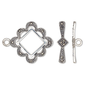 clasp, toggle, marcasite (natural) and sterling silver, 24x23mm fancy diamond. sold individually.