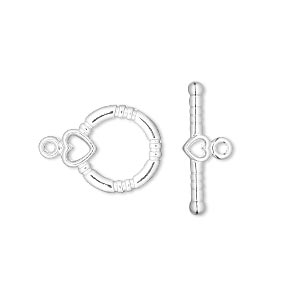 clasp, toggle, silver-plated brass, 14x13mm round with heart. sold per pkg of 100.