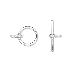clasp, toggle, silver-plated pewter (zinc-based alloy), 12mm smooth round. sold per pkg of 100.