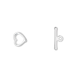 clasp, toggle, silver-plated pewter (zinc-based alloy), 8x8mm heart with no loop. sold per pkg of 100.