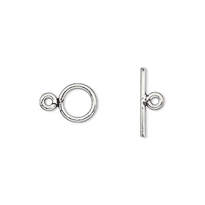 clasp, toggle, sterling silver, 8.5mm round. sold individually.
