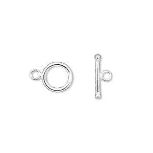 clasp, toggle, sterling silver, 8.5mm smooth round. sold per pkg of 2.