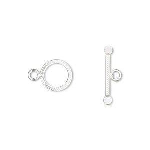 clasp, toggle, sterling silver, 9.5mm textured round. sold per pkg of 2.