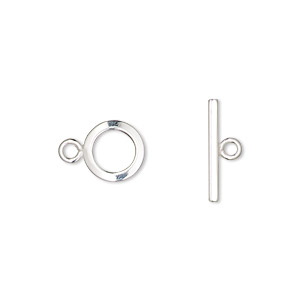 clasp, toggle, sterling silver, 9mm flat smooth round. sold per pkg of 2.