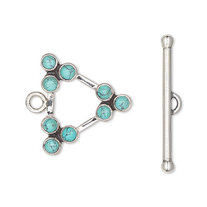clasp, toggle, sterling silver and turquoise (stabilized), (9) 3mm round cabochon, 21.5x21.5x21.5mm triangle. sold individually.