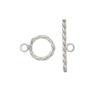 clasp, toggle, sterling silver-filled, 12mm twisted round. sold individually.