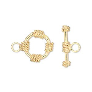 clasp, toggle, vermeil, 15mm round with rope accent. sold individually.
