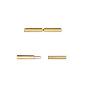 clasp, tube, gold-plated brass, 18x2mm, 1.4mm hole. sold per pkg of 6.