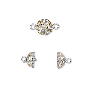 clasp, twist-in, crystal rhinestone with rhodium- and gold-plated brass, clear, 8.5mm textured round with wave design. sold individually.