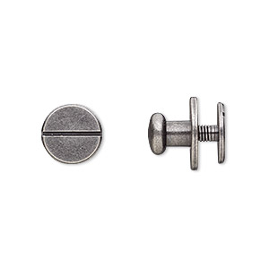 clasp, twist-in rivet, antique silver-plated brass, 12x9mm with 7mm flat round and 3mm shank. sold per pkg of (2) 2-piece sets.