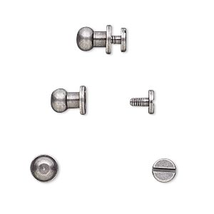 clasp, twist-in rivet, antique silver-plated brass, 8.5x6mm with 5mm round and 2mm shank. sold per pkg of (4) 2-piece sets.