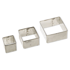 clay cutter, tin, 20mm / 30mm / 40mm square. sold per 3-piece set.