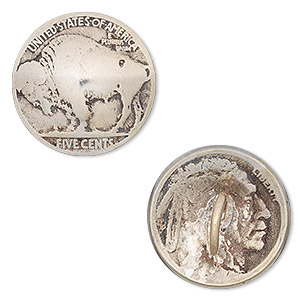 coin button, buffalo nickel, nickel, 20mm. sold individually.