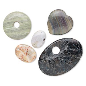 component / focal / drop mix, multi-gemstone (natural / dyed / heated / man-made) and glass, mixed colors, 24x17mm-63x43mm mixed shape, c- grade, mohs hardness 3 to 7. sold per pkg of 5.