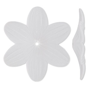 component, acrylic, frosted clear, 48x7mm flower. sold per pkg of 10.