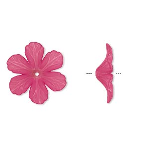 component, acrylic, frosted fuchsia, 32x9mm flower. sold per pkg of 25.