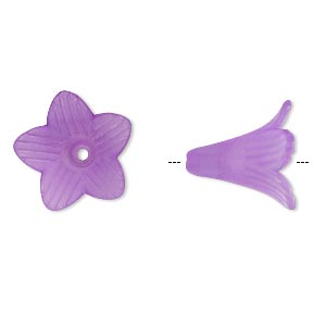 component, acrylic, frosted violet, 22x22mm flower. sold per pkg of 25.