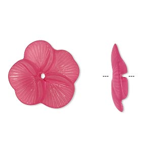 component, acrylic, translucent frosted fuchsia, 20x5mm flower. sold per pkg of 100.