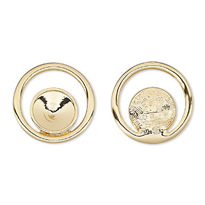 component, almost instant jewelry, gold-finished pewter (zinc-based alloy), 24mm single-sided open round with 12mm rivoli setting. sold per pkg of 2.
