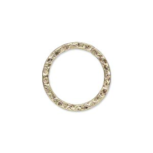 component, antique gold-plated steel, 20mm double-sided hammered flat round. sold per pkg of 10.