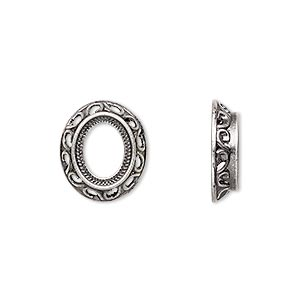 component, antique silver-plated brass, 15x13mm oval with swirl design and 10x8mm oval setting. sold per pkg of 10.