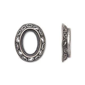 component, antique silver-plated brass, 20x16mm oval with swirl design and 14x10mm oval setting. sold per pkg of 10.