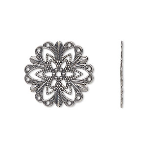 component, antique silver-plated brass, 21x21mm fancy round with cutout star design. sold per pkg of 10.