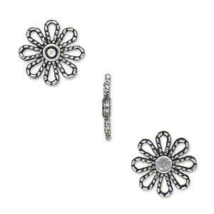 component, antique silver-plated pewter (zinc-based alloy), 13x13mm single-sided flower. sold per pkg of 50.