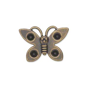 component, antiqued gold-plated steel, 25x18mm single-sided butterfly with (4) pp31 settings. sold per pkg of 24.