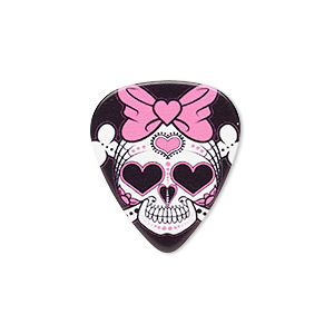 component, celluloid plastic, black / pink / white, 30x26mm double-sided guitar pick with skull and crossbones with hearts and hair bow design. sold per pkg of 2.