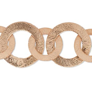component, copper, 22mm and 16mm brushed flat round, 7-1/2 inches. sold individually.