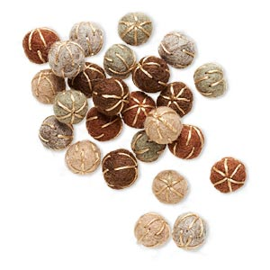 component, felt and cotton, earth tones, 13mm undrilled round with lines. sold per pkg of 25.