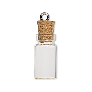 component, glass / cork / nickel-finished steel, clear, 22x11mm bottle with stopper and screw eye. sold per pkg of 10.