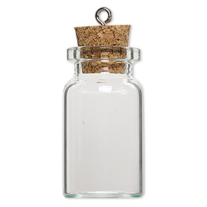 component, glass / cork / nickel-finished steel, clear, 40x22mm bottle with stopper and screw eye. sold per pkg of 10.