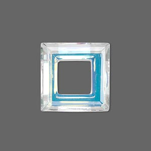 component, glass, clear ab, 20x20mm faceted open square. sold individually.