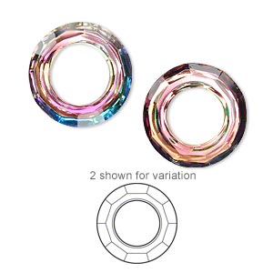 component, glass, clear vitrail, foil back, 20mm faceted round donut. sold individually.
