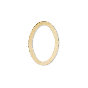 component, gold-plated brass, 22x15mm open oval. sold per pkg of 10.
