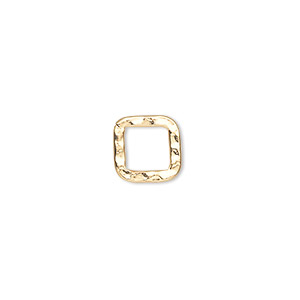 component, gold-plated steel, 10x10mm double-sided hammered flat open square. sold per pkg of 12.